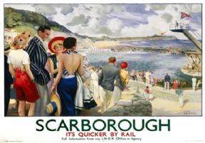 Scarborough, Yorkshire. It's Quicker By Rail. LNER Vintage Travel Poster by Edmund Oakdale